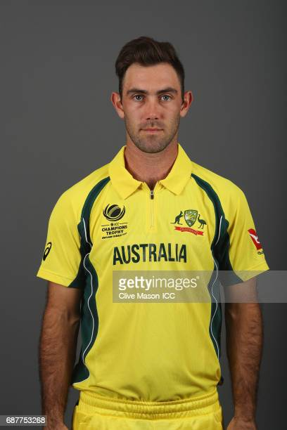 Glenn Maxwell of Australia poses during a portrait session ahead of the ICC Champions Trophy at the Royal Garden Hotel on May 24 2017 in London...