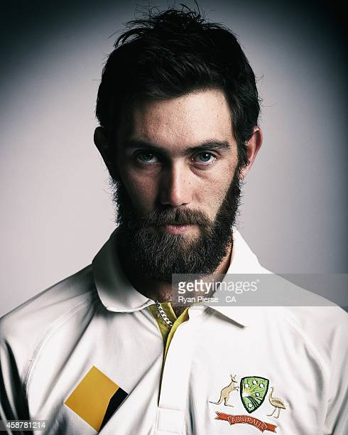 Glenn Maxwell of Australia poses during an Australian Test Team Portrait Session on August 11 2014 in Sydney Australia