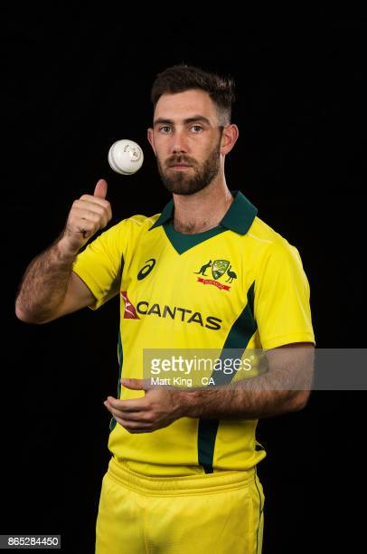 Glenn Maxwell of Australia poses during the Australia cricket team portrait session at Intercontinental Double Bay on October 15 2017 in Sydney...
