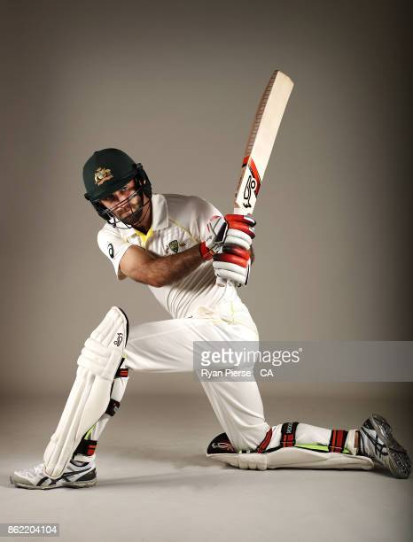 Glenn Maxwell of Australia poses during the Australia Test cricket team portrait session at Intercontinental Double Bay on October 15 2017 in Sydney...