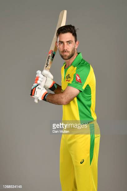 Glenn Maxwell of Australia poses for a portrait during the Australia Cricket Portrait Session at The County Ground on August 25, 2020 in Derby,...