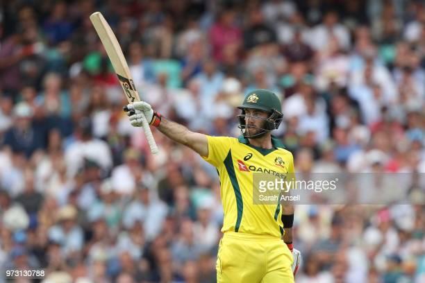 Glenn Maxwell of Australia raises his bat after reaching a half century during the 1st Royal London ODI between England and Australia at The Kia Oval...