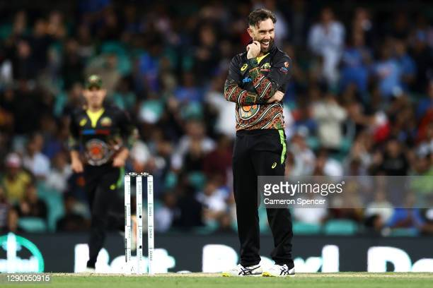 Glenn Maxwell of Australia reacts after dismissing KL Rahul of India during game three of the Twenty20 International series between Australia and...