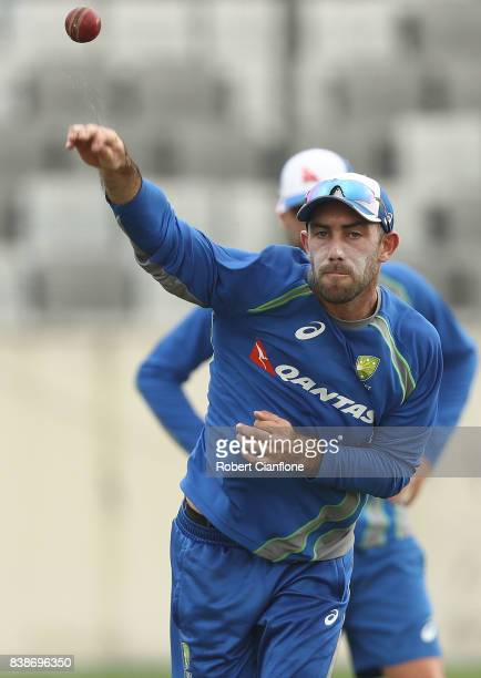 Glenn Maxwell of Australia throws the ball during an Australian Test team nets session at SherE Bangla National Cricket Stadium on August 25 2017 in...