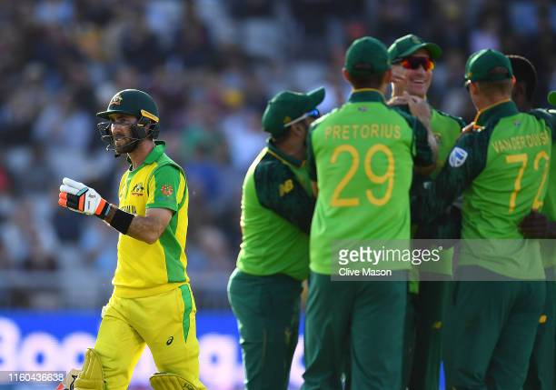 Glenn Maxwell of Australia walks off after being dismissed off the bowling of Kagiso Rabada of South Africa during the Group Stage match of the ICC...