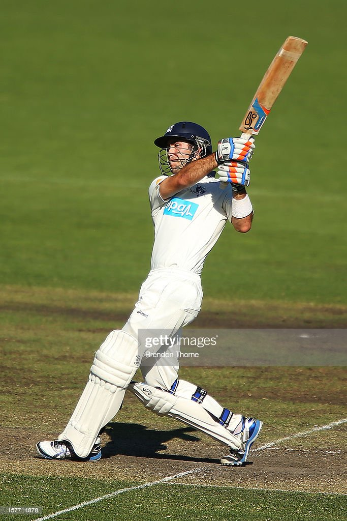 Glenn Maxwell of Chairman's XI bats during day one of the international tour match between the Chairman's XI and Sri Lanka at Manuka Oval on December 6, 2012 in Canberra, Australia.