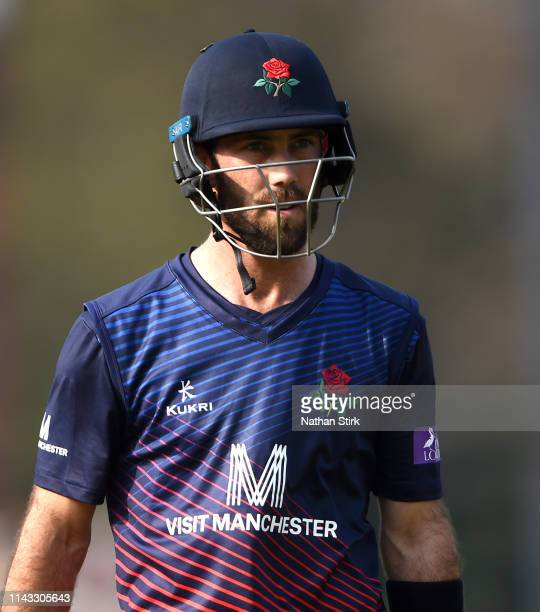 Glenn Maxwell of Lancashire batting during the Royal London One Day Cup match between Lancashire and Worcestershire at Emirates Old Trafford on April...