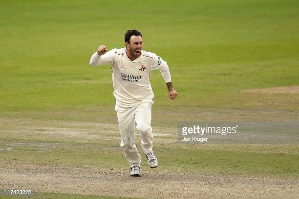Glenn Maxwell of Lancashire celebrates the wicket of Alex Hughes of Derbyshire during day 3 of the Specsavers County Championship Division Two match...