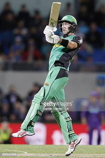 Glenn Maxwell of the Melbourne Stars bats during the Big Bash League match between the Hobart Hurricanes and Sydney Stars at Blundstone Arena on...