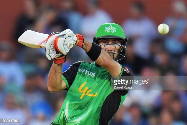 Glenn Maxwell of the Melbourne Stars bats during the Big Bash League match between the Adelaide Strikers and the Melbourne Stars at Adelaide Oval on...