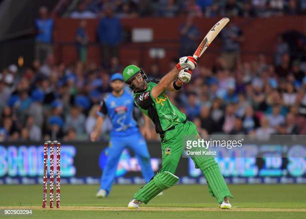 Glenn Maxwell of the Melbourne Stars bowls during the Big Bash League match between the Adelaide Strikers and the Melbourne Stars at Adelaide Oval on...