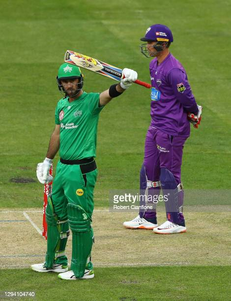 Glenn Maxwell of the Melbourne Stars celebrates after scoring his half century during the Big Bash League match between the Hobart Hurricanes and the...