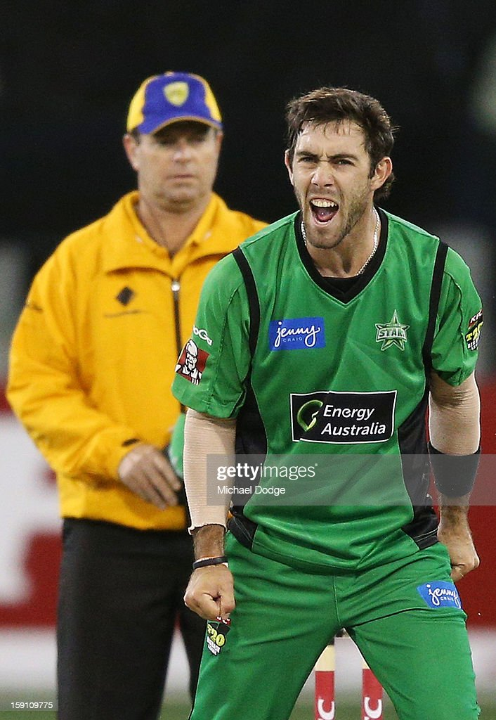 Glenn Maxwell of the Melbourne Stars celebrates his wicket, Sean Abbott of the Sydney Thunder during the Big Bash League match between the Melbourne Stars and the Sydney Thunder at Melbourne Cricket Ground on January 8, 2013 in Melbourne, Australia.