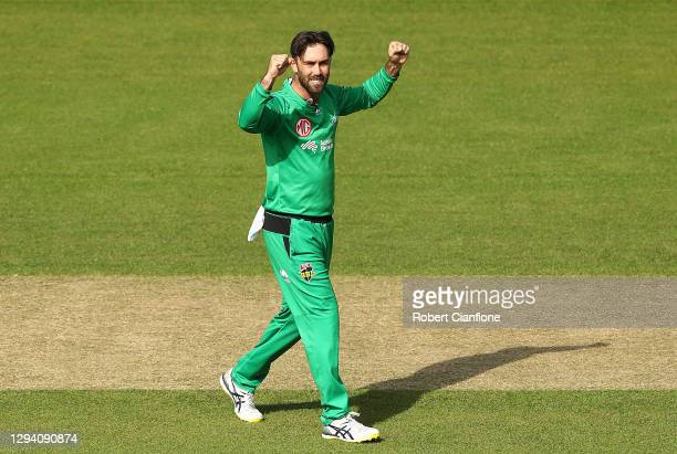 Glenn Maxwell of the Melbourne Stars celebrates taking the wicket of D'arcy Short of the Hobart Hurricanes during the Big Bash League match between...