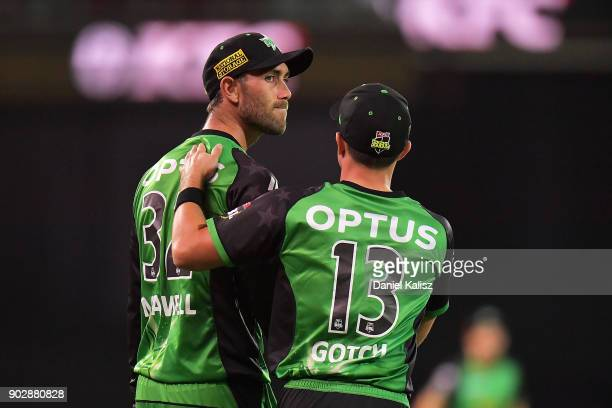 Glenn Maxwell of the Melbourne Stars is consoled to by Seb Gotch of the Melbourne Stars after dropping a catch during the Big Bash League match...