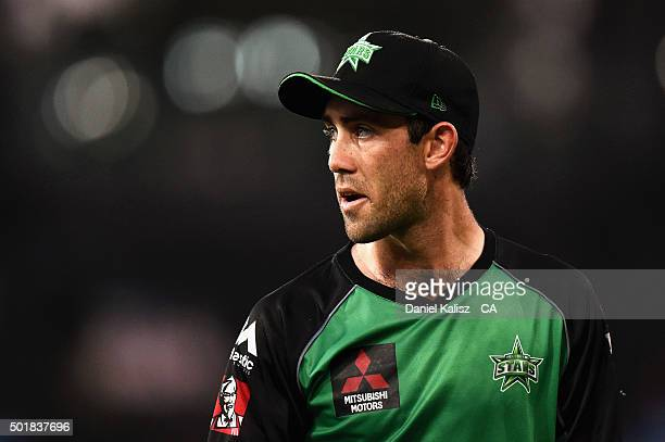 Glenn Maxwell of the Melbourne Stars looks on during the Big Bash League match between the Adelaide Strikers and the Melbourne Stars at Adelaide Oval...