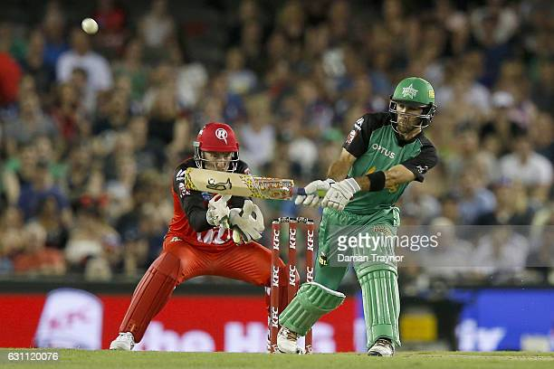 Glenn Maxwell of the Melbourne Stars plays a reverse sweep shot during the Big Bash League match between the Melbourne Renegades and the Melbourne...