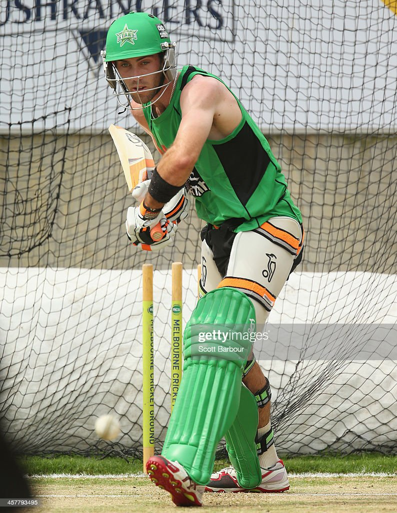 Glenn Maxwell of the Stars bats during a Melbourne Stars Big Bash League training session at the Melbourne Cricket Ground on December 19, 2013 in Melbourne, Australia.