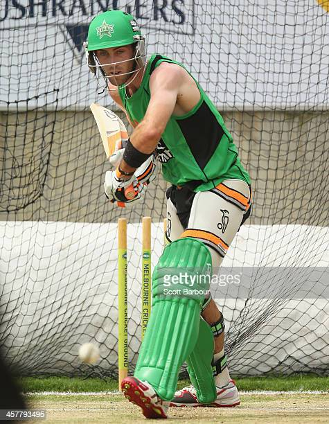 Glenn Maxwell of the Stars bats during a Melbourne Stars Big Bash League training session at the Melbourne Cricket Ground on December 19 2013 in...