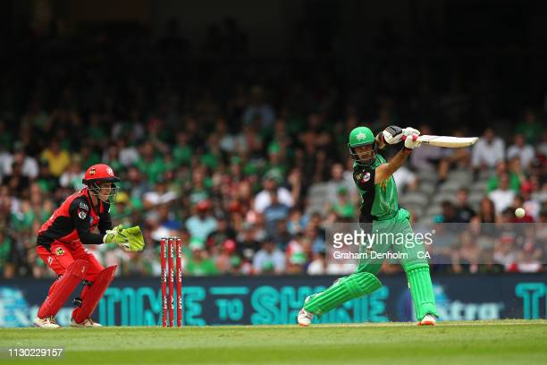 Glenn Maxwell of the Stars bats during the Big Bash League Final match between the Melbourne Renegades and the Melbourne Stars at Marvel Stadium on...