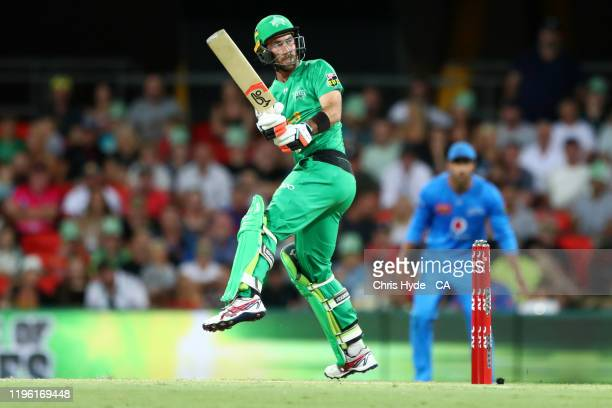 Glenn Maxwell of the Stars bats during the Big Bash League match between the Melbourne Stars and the Adelaide Strikers at Metricon Stadium on...