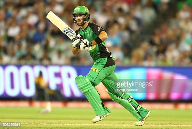 Glenn Maxwell of the Stars bats during the Big Bash League match between the Melbourne Stars and the Hobart Hurricanes at the Melbourne Cricket...