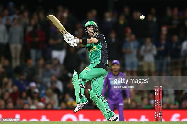 Glenn Maxwell of the Stars bats during the Big Bash League match between the Hobart Hurricanes and Sydney Stars at Blundstone Arena on December 26...