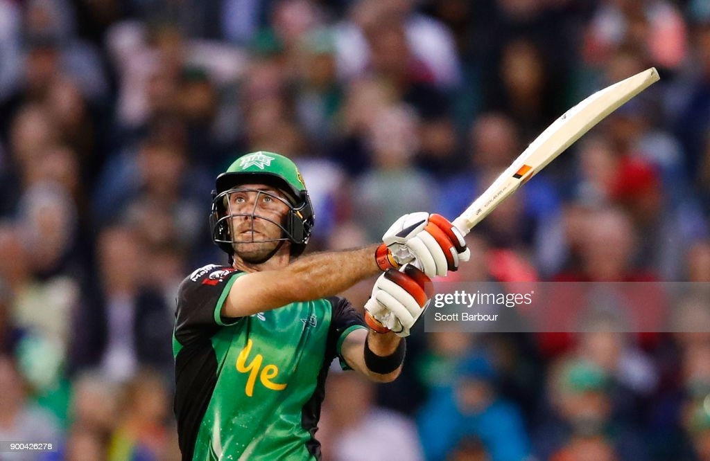 Glenn Maxwell of the Stars bats during the Big Bash League match between the Melbourne Stars and the Brisbane Heat at Melbourne Cricket Ground on January 2, 2018 in Melbourne, Australia.