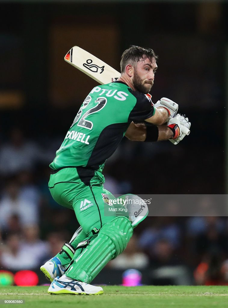 Glenn Maxwell of the Stars bats during the Big Bash League match between the Sydney Sixers and the Melbourne Stars at Sydney Cricket Ground on January 23, 2018 in Sydney, Australia.