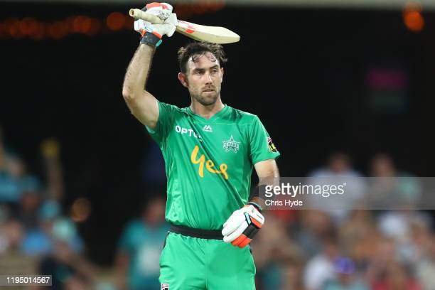 Glenn Maxwell of the Stars celebrates 50 runs during the Big Bash League Match between the Brisbane Heat and the Melbourne Stars at Metricon Stadium...