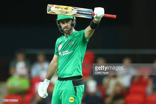 Glenn Maxwell of the Stars celebrates 50 runs during the Big Bash League match between Sydney Sixers and the Melbourne Stars at Metricon Stadium, on...