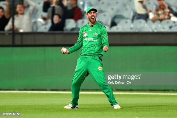 Glenn Maxwell of the Stars celebrates catching Daniel Hughes of the Sixers during the Big Bash League match between the Melbourne Stars and the...