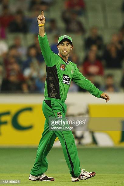 Glenn Maxwell of the Stars celebrates his run out of Jayde Herrick of the Renegades during the Big Bash League match between the Melbourne Stars and...