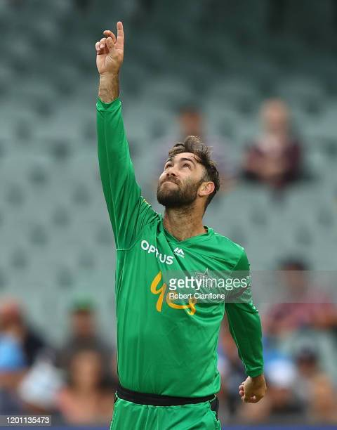 Glenn Maxwell of the Stars celebrates taking the wicket of Jake Weatherald of the Strikers during the Big Bash League match between the Adelaide...