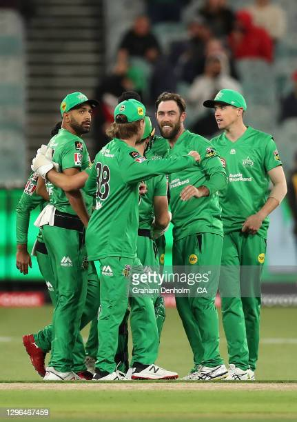 Glenn Maxwell of the Stars celebrates the dismissal of Alex Carey of the Strikers during the Big Bash League match between the Melbourne Stars and...