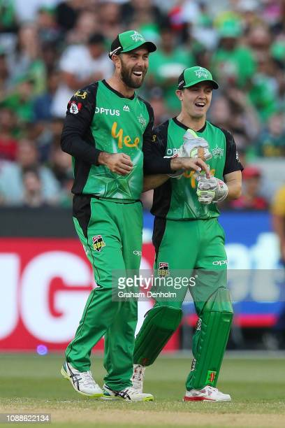 Glenn Maxwell of the Stars celebrates the dismissal of Mohammad Nabi of the Renegades after catching him out during the Big Bash League match between...