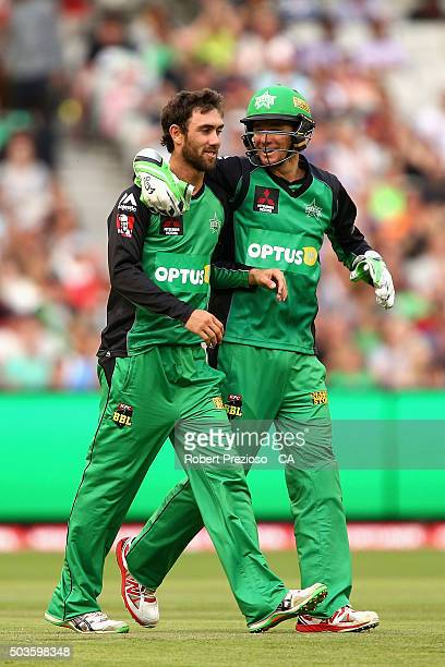 Glenn Maxwell of the Stars celebrates the wicket of Tim Paine of the Hurricanes during the Big Bash League match between the Melbourne Stars and the...