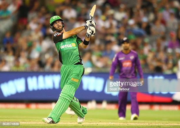 Glenn Maxwell of the Stars hits a six during the Big Bash League match between the Melbourne Stars and the Hobart Hurricanes at the Melbourne Cricket...