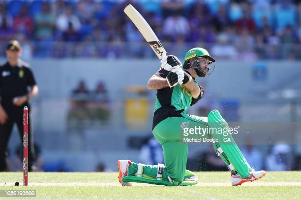 Glenn Maxwell of the Stars hits the ball for six when switch hitting during Hobart Hurricanes v Melbourne Stars Big Bash League Match at Blundstone...