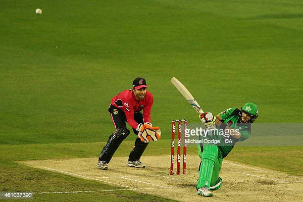 Glenn Maxwell of the Stars hits the ball left handed during the Big Bash League match between the Melbourne Stars and the Sydney Sixers at Melbourne...