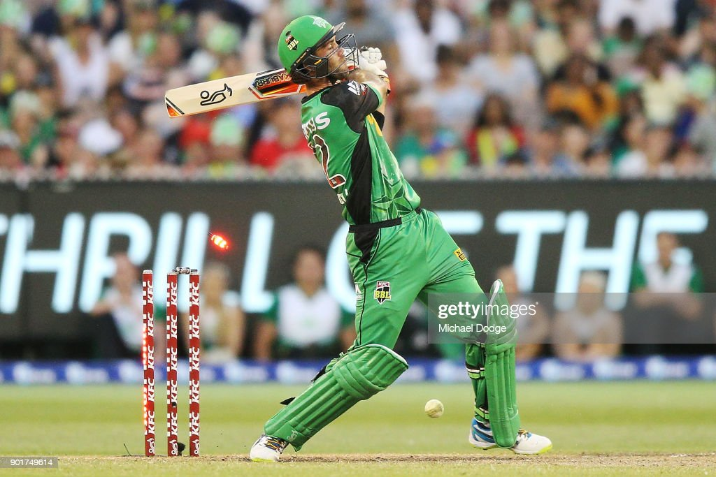 Glenn Maxwell of the Stars is bowled on the last bowl of the innings during the Big Bash League match between the Melbourne Stars and the Melbourne Renegades at Melbourne Cricket Ground on January 6, 2018 in Melbourne, Australia.