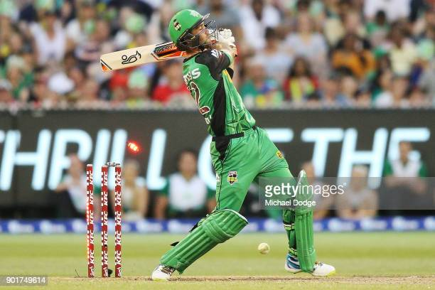 Glenn Maxwell of the Stars is bowled on the last bowl of the innings during the Big Bash League match between the Melbourne Stars and the Melbourne...