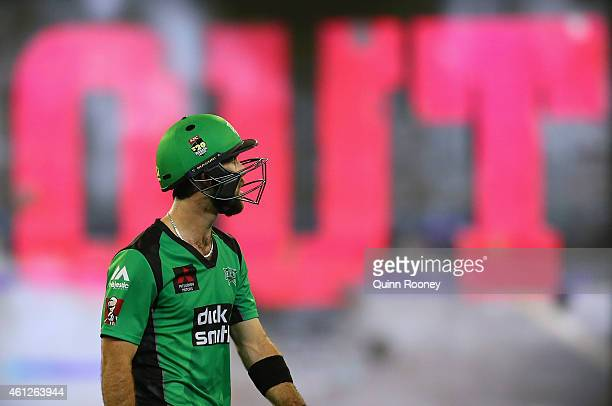 Glenn Maxwell of the Stars leaves the field after being dismissed for 67 during the Big Bash League match between the Melbourne Stars and the...
