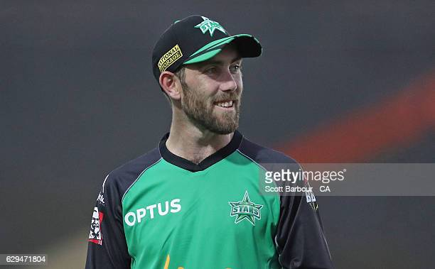 Glenn Maxwell of the Stars looks on during the Twenty20 Border Bash match between the Melbourne Stars and the Sydney Thunder at Lavington Sports...
