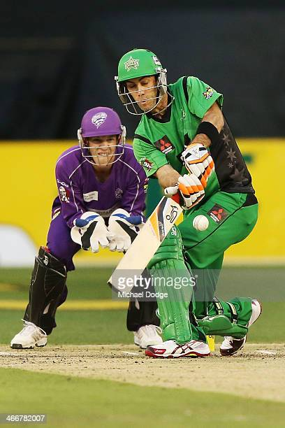 Glenn Maxwell of the Stars plays a shot during the Big Bash League Semi Final match between the Melbourne Stars and the Hobart Hurricanes at...