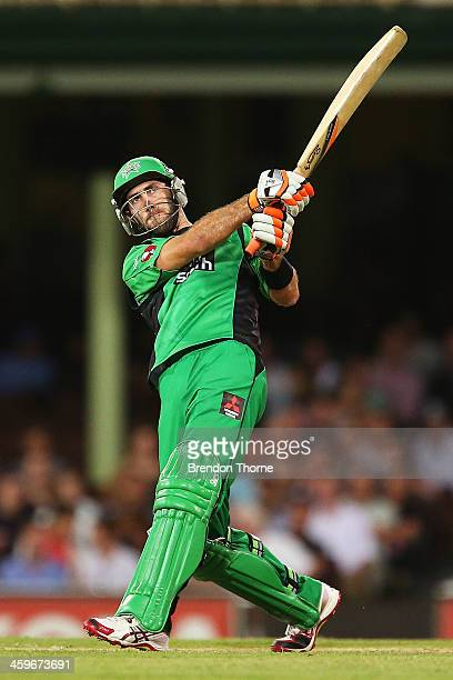 Glenn Maxwell of the Stars plays a stroke on the leg side during the Big Bash League match between the Sydney Sixers and the Melbourne Stars at SCG...
