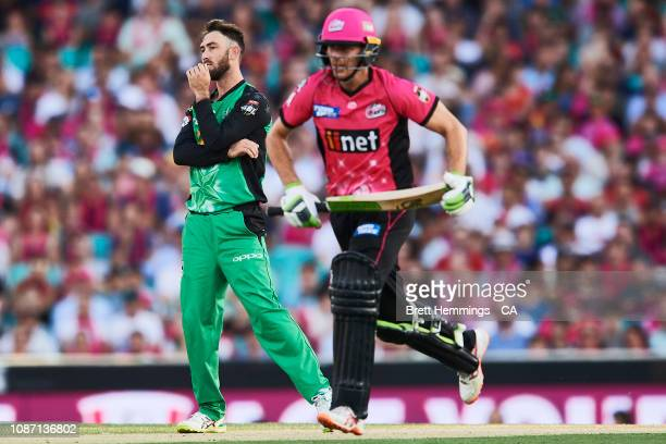 Glenn Maxwell of the Stars reacts after bowling during the Big Bash League match between the Sydney Sixers and the Melbourne Stars at Sydney Cricket...