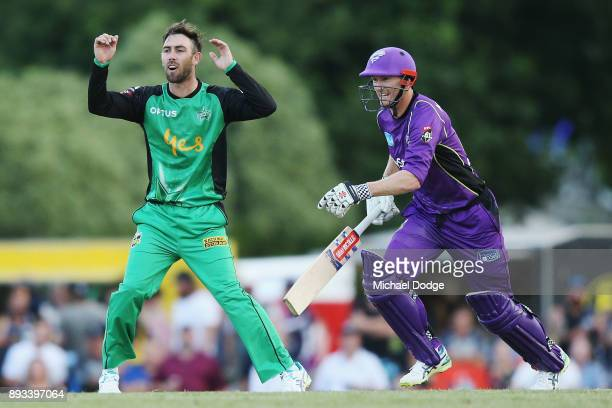 Glenn Maxwell of the Stars reacts next to George Bailey of the Hurricanes during the Twenty20 BBL practice match between the Melbourne Stars and the...