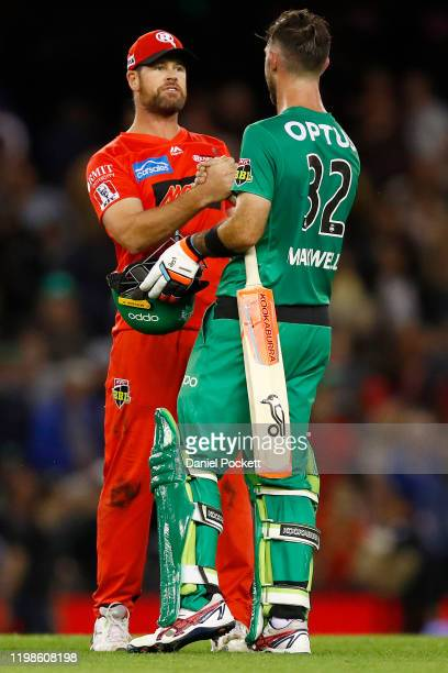 Glenn Maxwell of the Stars shakes hands with Dan Christian of the Renegades after the Big Bash League match between the Melbourne Renegades and the...