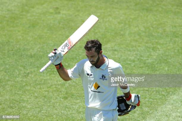 Glenn Maxwell of Victoria acknowledges the crowd after been dismissed by Stephen O'Keefe of NSW for 278 runs during day two of the Sheffield Shield...